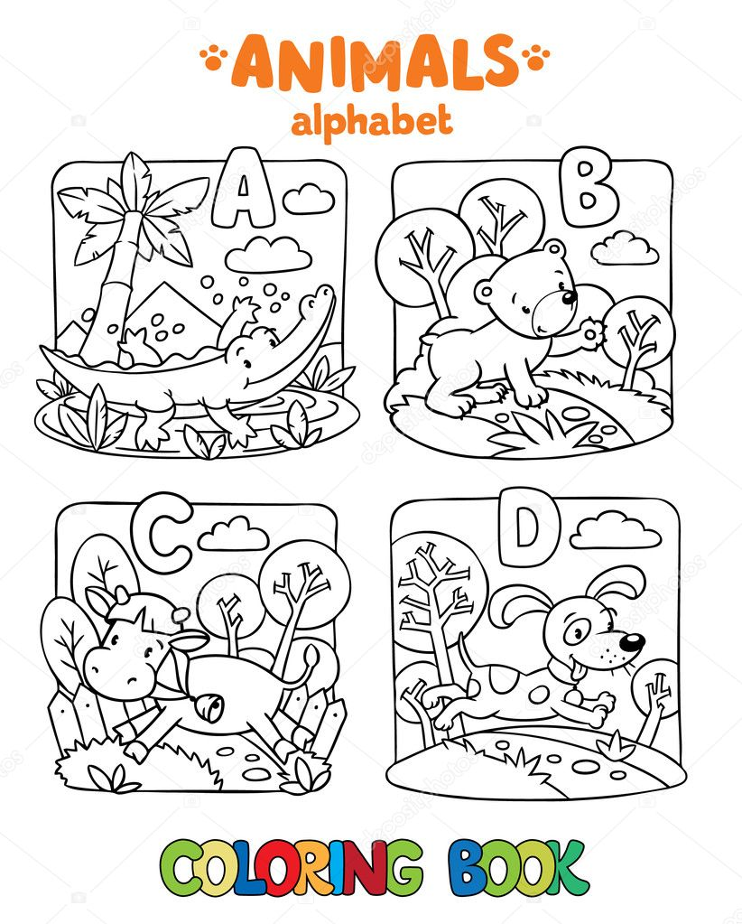 Animals alphabet or ABC. Coloring book — Stock Vector © passengerz ...