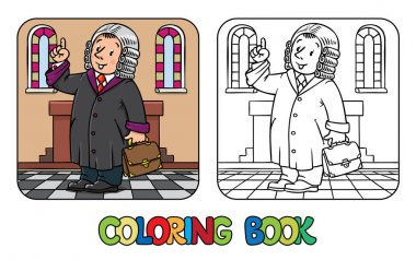 Coloring book of funny judge