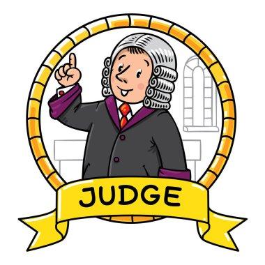 Funny judge understand thumbs up. Emblem