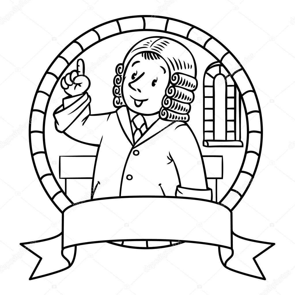 Libro para colorear o emblema del juez divertido — Archivo Imágenes ...