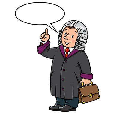 Funny judge with balloon for text