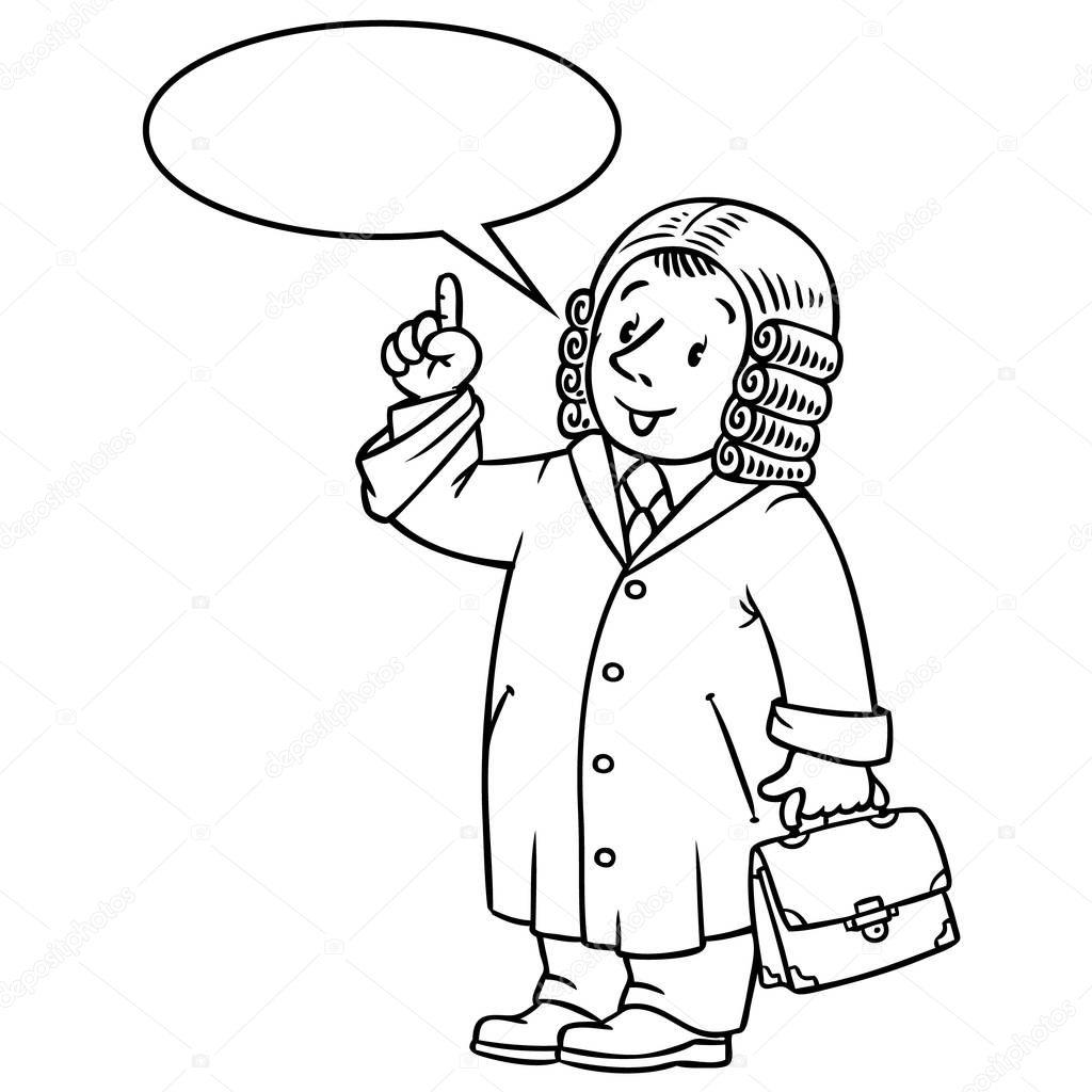 Libro de colorear del juez divertido con globo de texto — Archivo ...