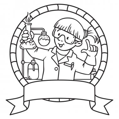 Coloring book of funny chemist. Emblem.