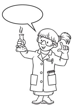 Coloring book of funny chemist or scientist