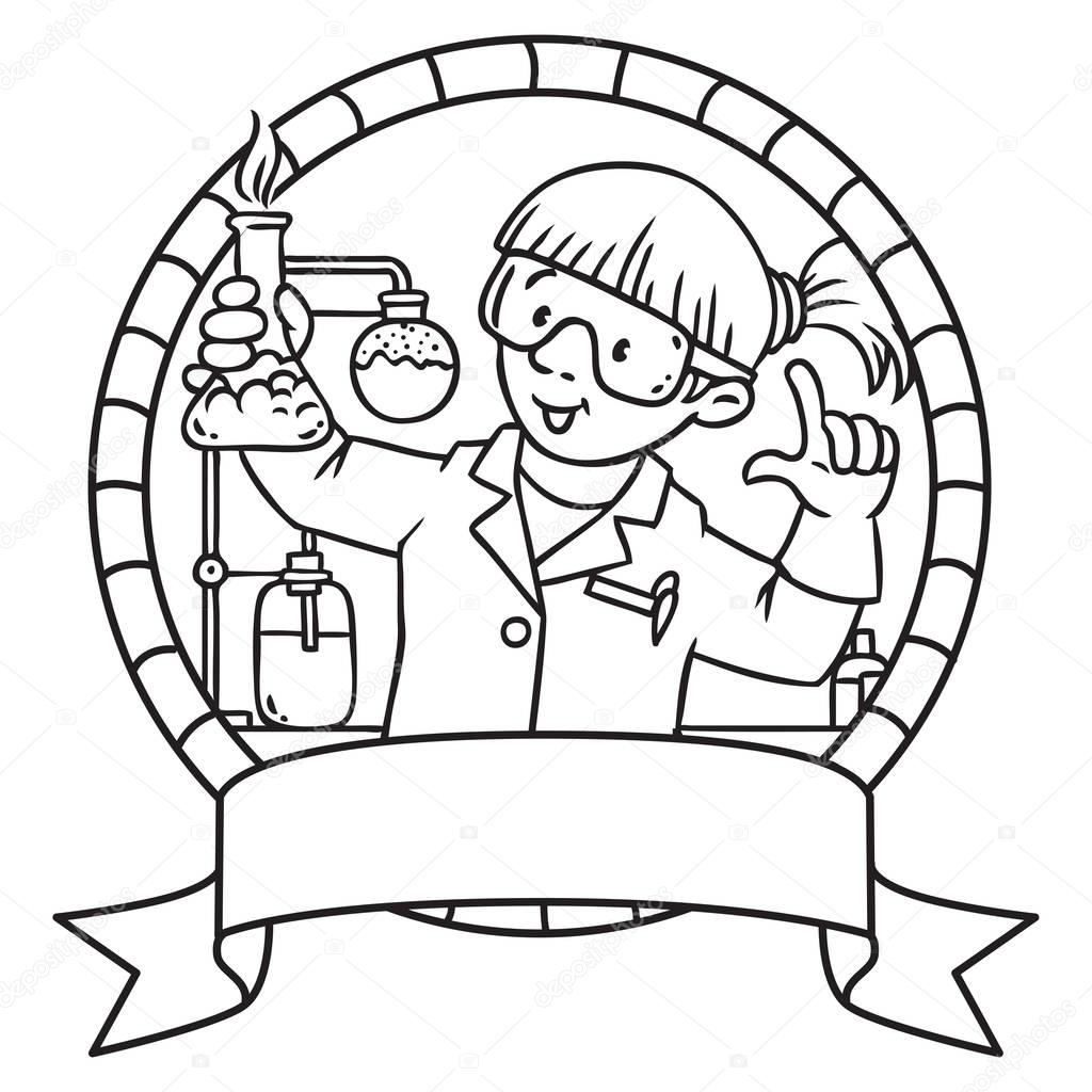 Libro de colorear de química divertida. Emblema de — Archivo ...