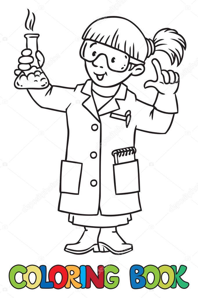 Boyama Kitabı Komik Kimyager Veya Bilim Adamı Stok Vektör