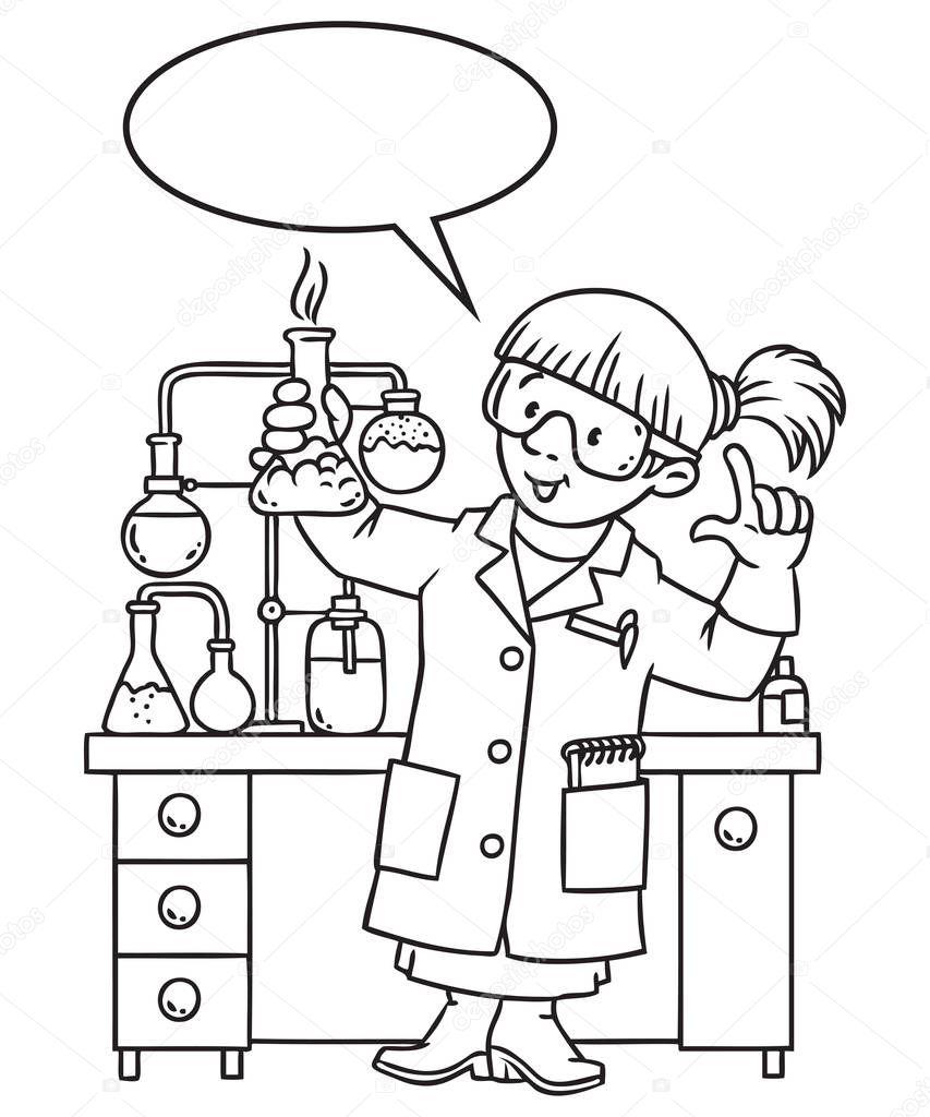 Libro De Colorear Divertido Químico O Científico Archivo Imágenes