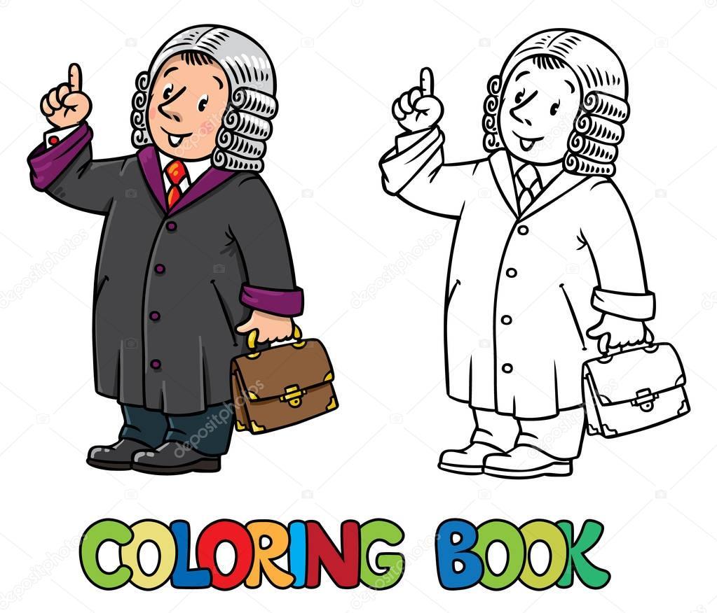 Libro de colorear del juez divertido — Archivo Imágenes Vectoriales ...