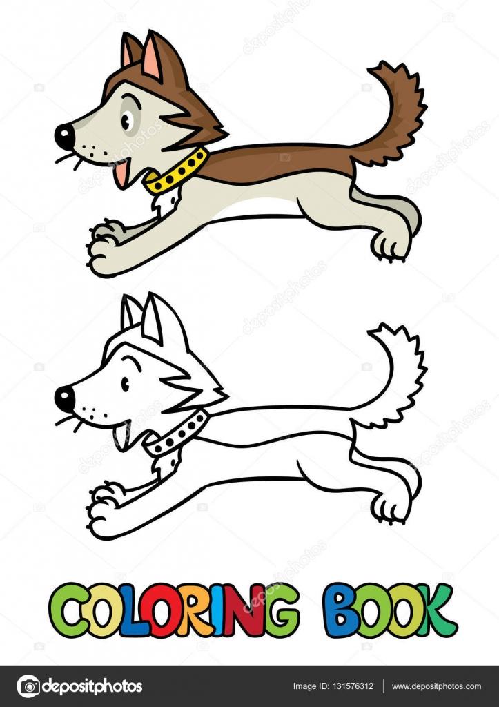 Divertido perrito husky. Libro para colorear — Archivo Imágenes ...