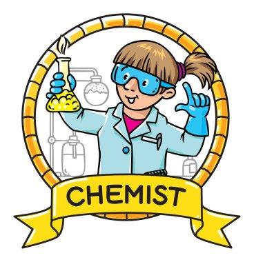 Funny chemist or scientist. Emblem.