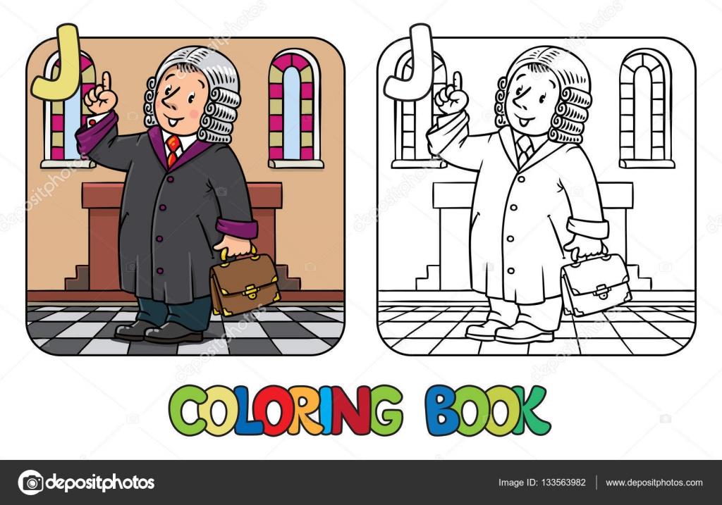 Libro de colorear de juez. Abc de profesión alfabeto J. — Archivo ...