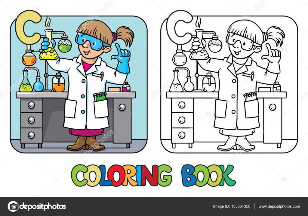 Libro de colorear de químico. Abc de la profesión. Alfabeto C ...