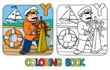 Yachtsman coloring book. Profession ABC Alphabet Y