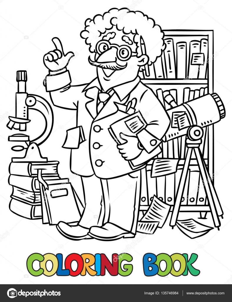 Libro de colorear divertido científico o inventor — Archivo Imágenes ...