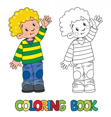 Funny little boy coloring book