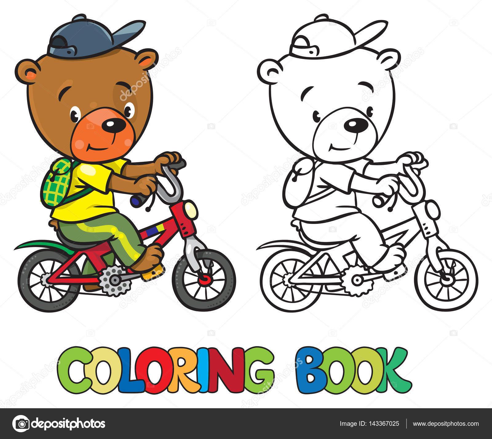 Libro de osito divertido en bicicleta para colorear — Vector de ...