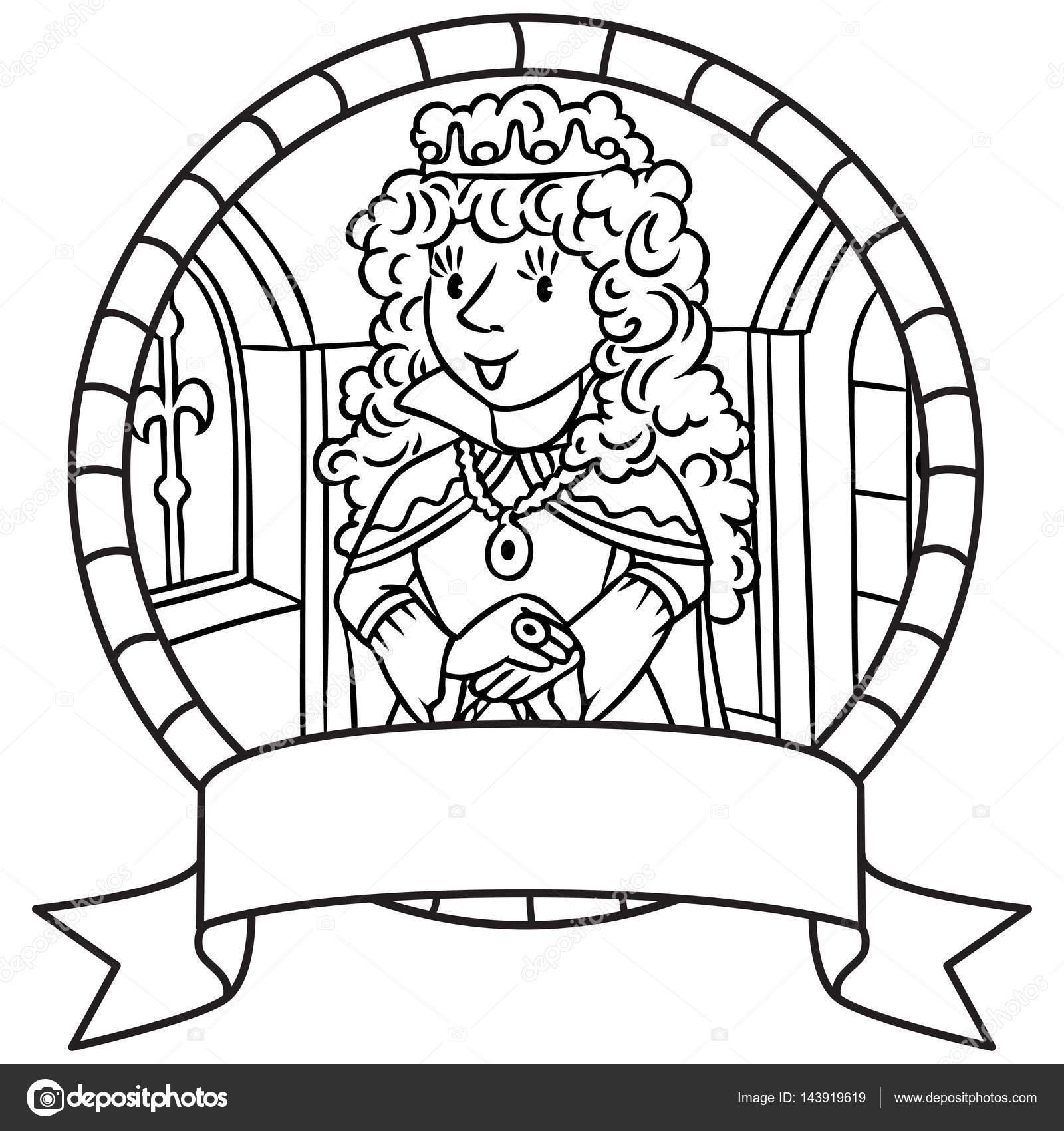 Kraliçe Ya Da Prenses Boyama Kitabı Amblem Stok Vektör