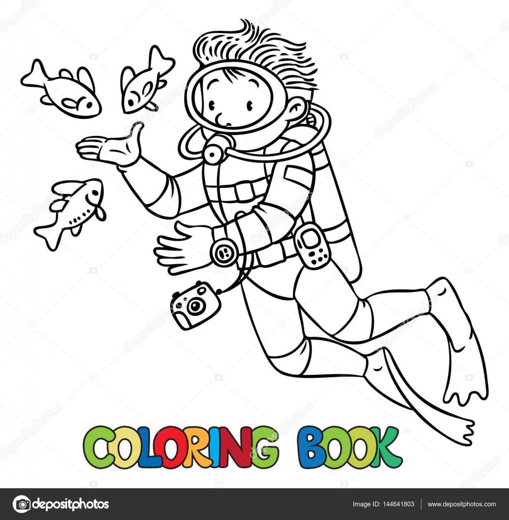Océanographe Drôle Ou Plongeur Livre De Coloriage Image