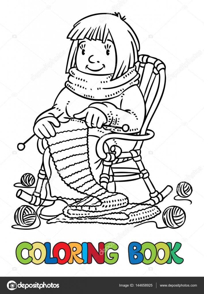 Libro para colorear con las mujeres divertido calcetero — Archivo ...