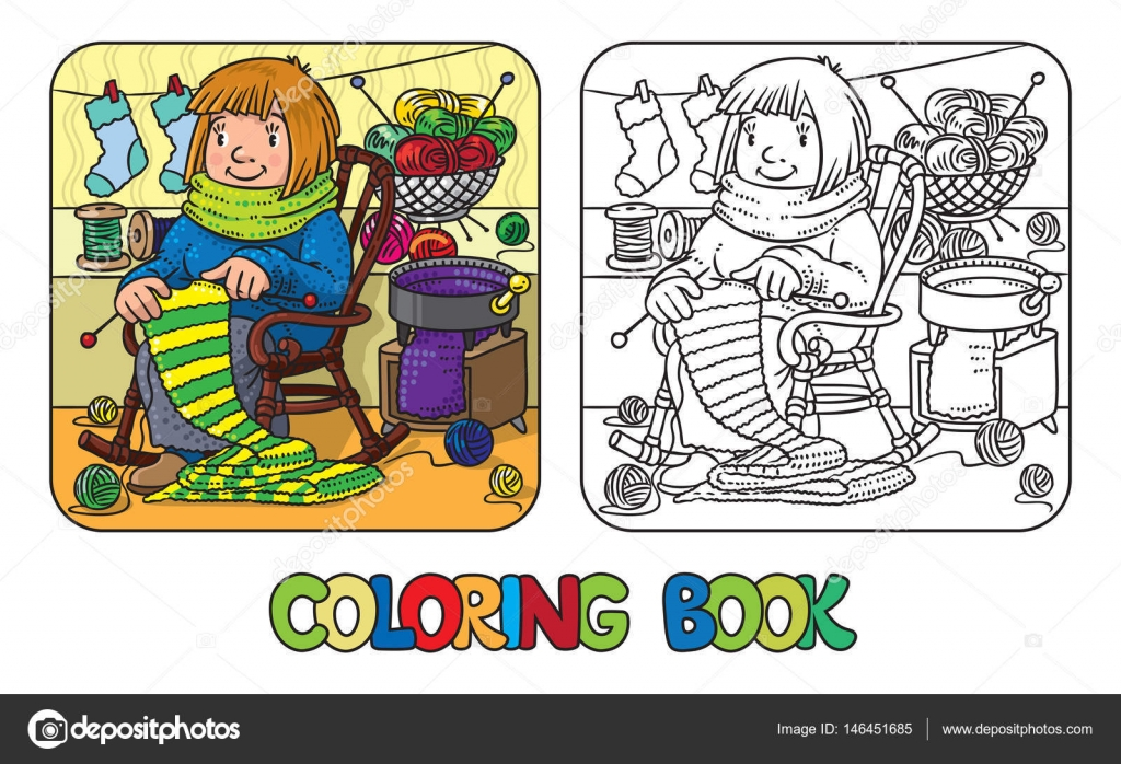 Coloring book with funny knitter women. — Stock Vector ...