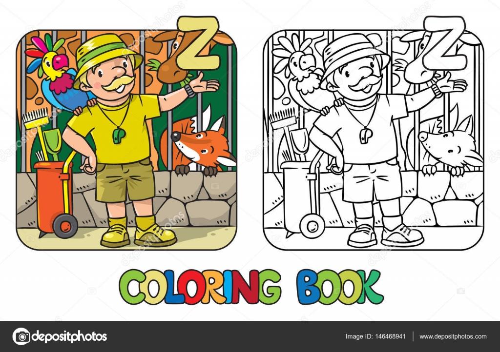 Guardián de zoológico libro profesión Abc alfabeto Z para colorear ...