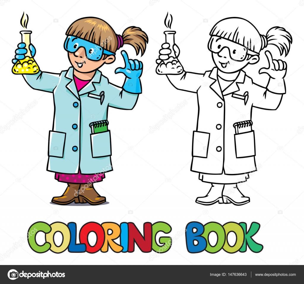 Libro de colorear divertido químico o científico — Archivo Imágenes ...
