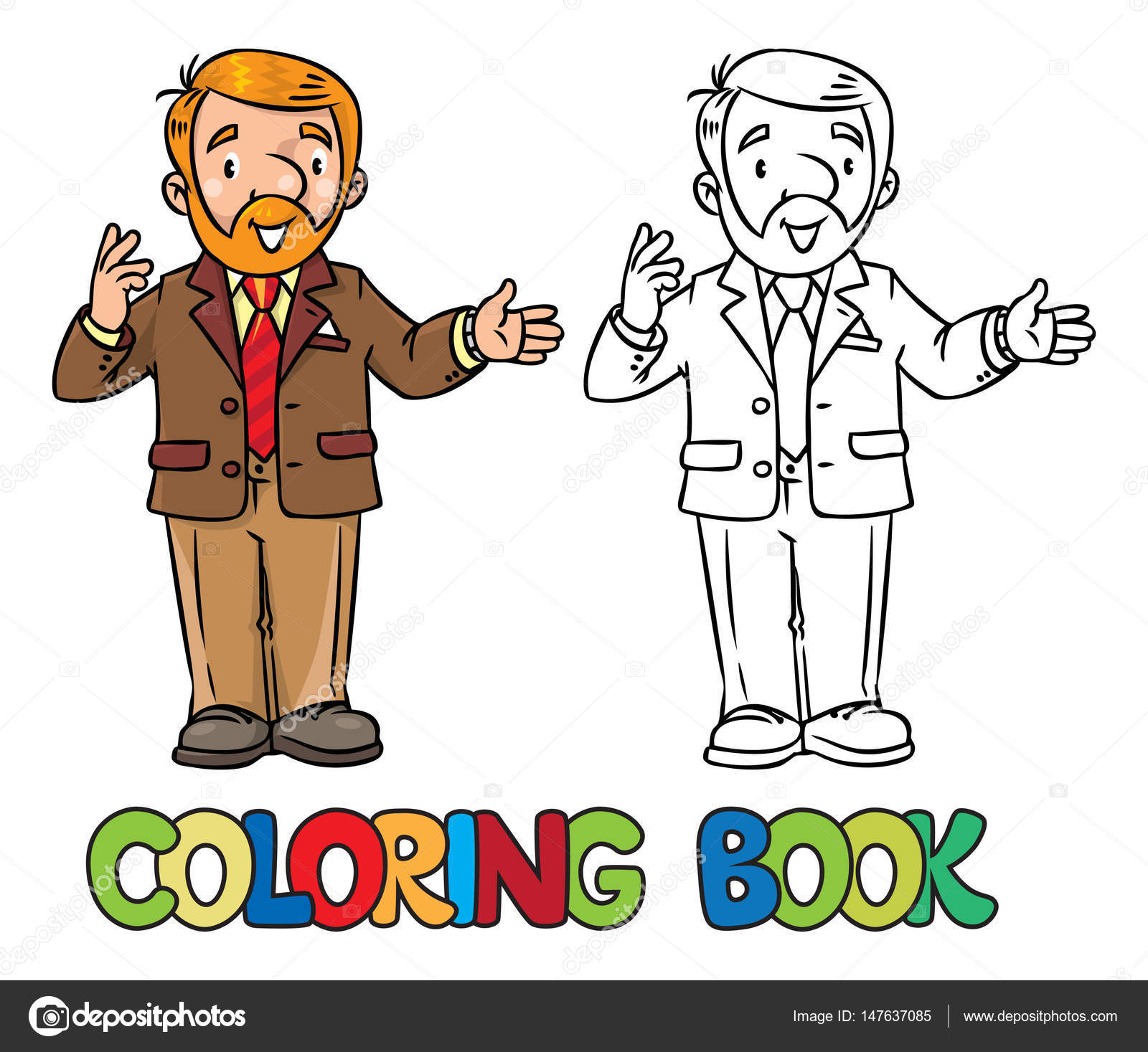 Coloring Book Of Funny University Lecturer A Man With Beard Is Giving Lecture Or Lesson Tells Something Near The Stand Profession Series