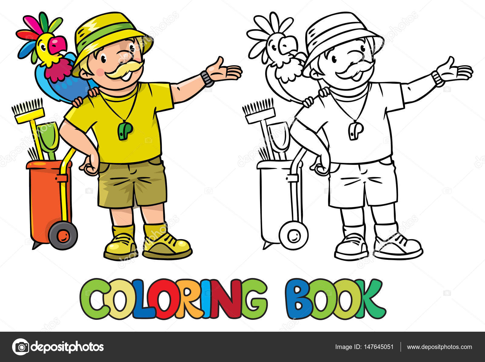 Libro de colorear de cuidador de zoo divertido con loro — Archivo ...