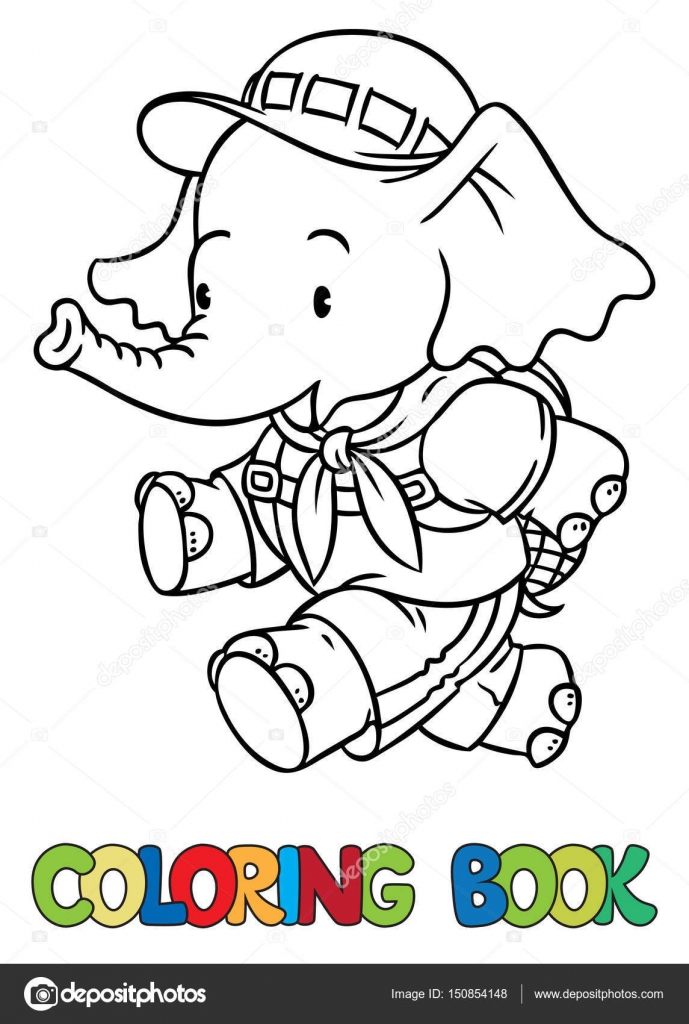 Running little baby elephant. Coloring book. Scout — Stock Vector ...