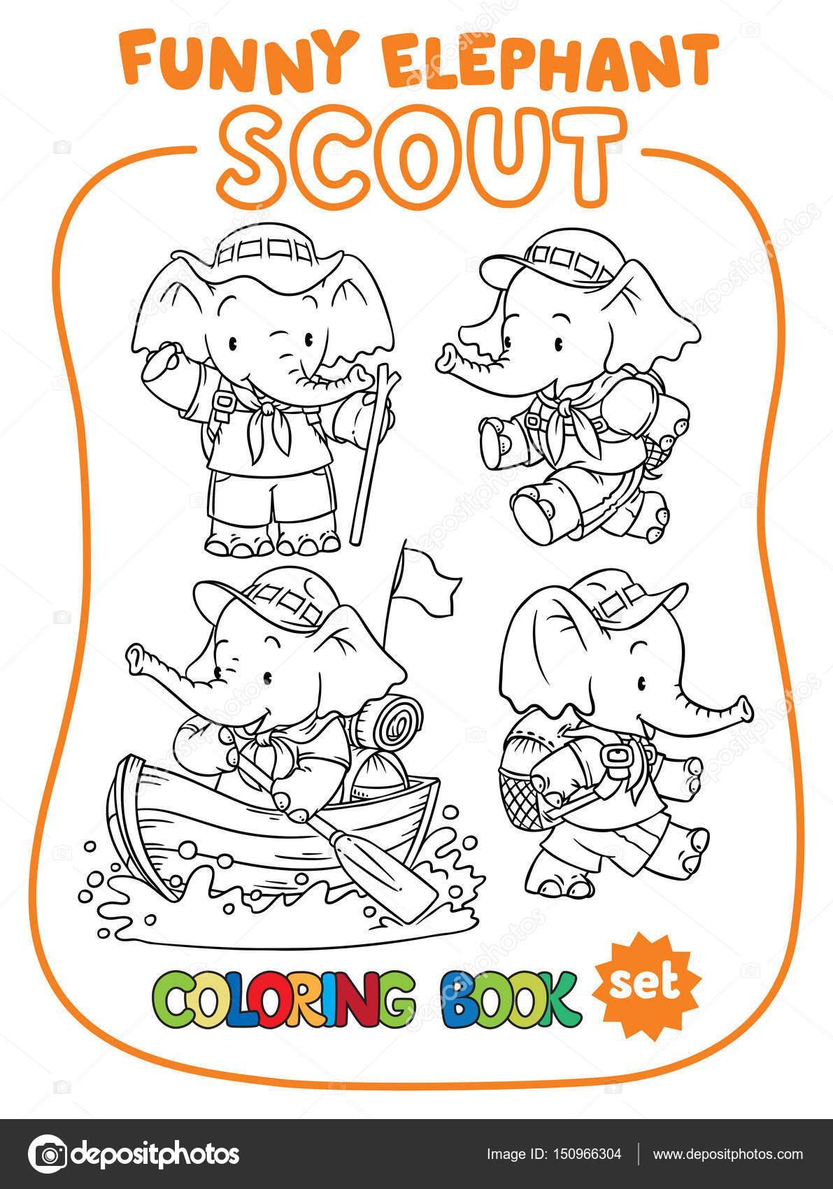 Elefantito bebé. Scout. Conjunto de libro para colorear — Archivo ...