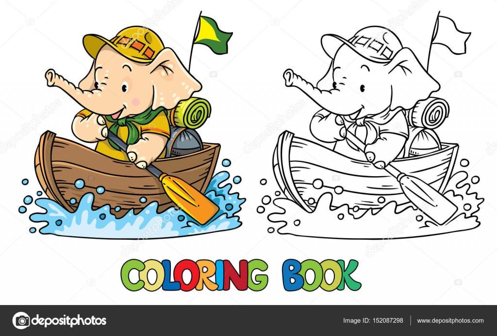Küçük Bebek Fil Tekne Ile Yüzer Izci Stok Vektör Passengerz