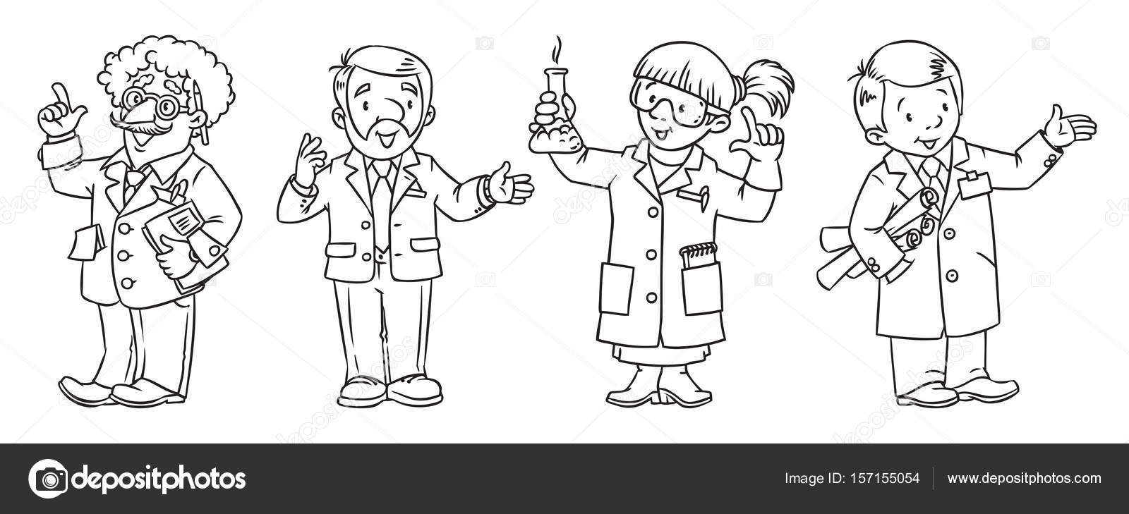 coloring book set of funny scientist or inventor univercity lecturer chemist and engeneer profession series childrens vector illustration - Science Coloring Book