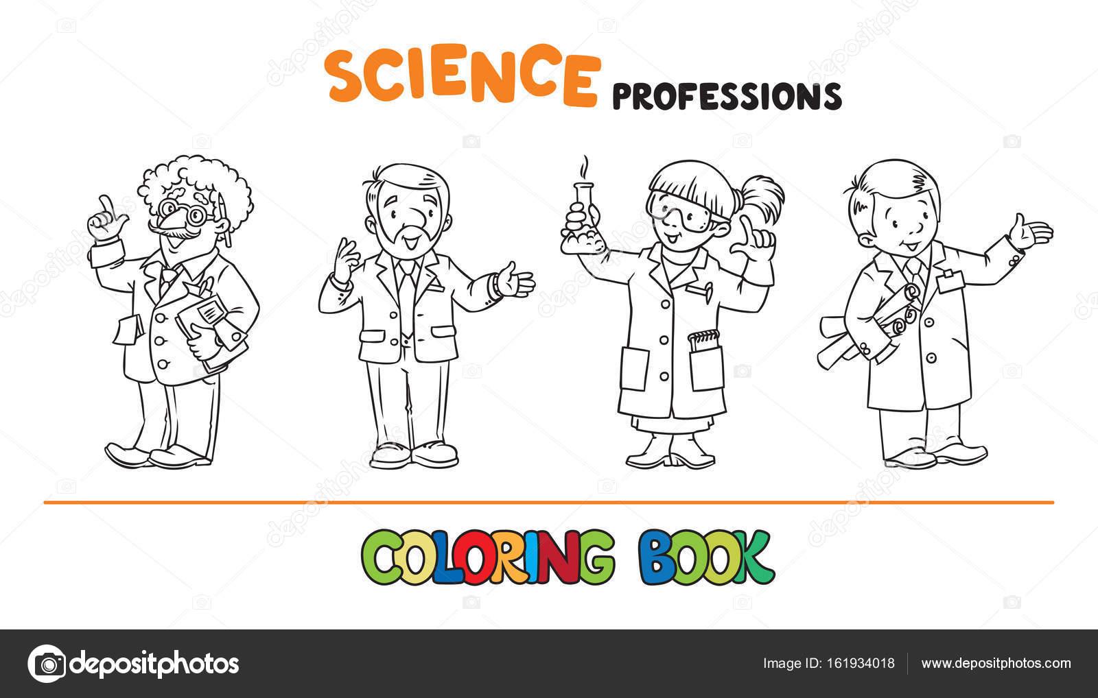 Profesiones de ciencia conjunto de libro de colorear — Vector de ...