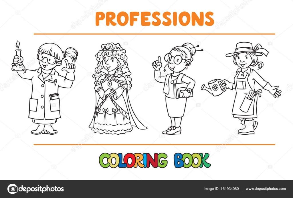 Profesión mujer conjunto de libro de colorear — Archivo Imágenes ...