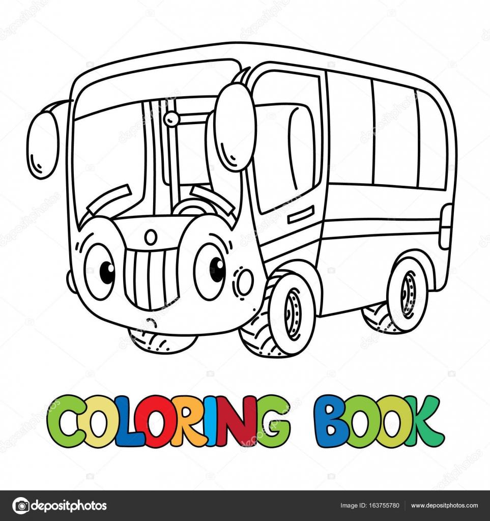 Komik Küçük Otobüs Gözleri Olan Boyama Kitabı Stok Vektör