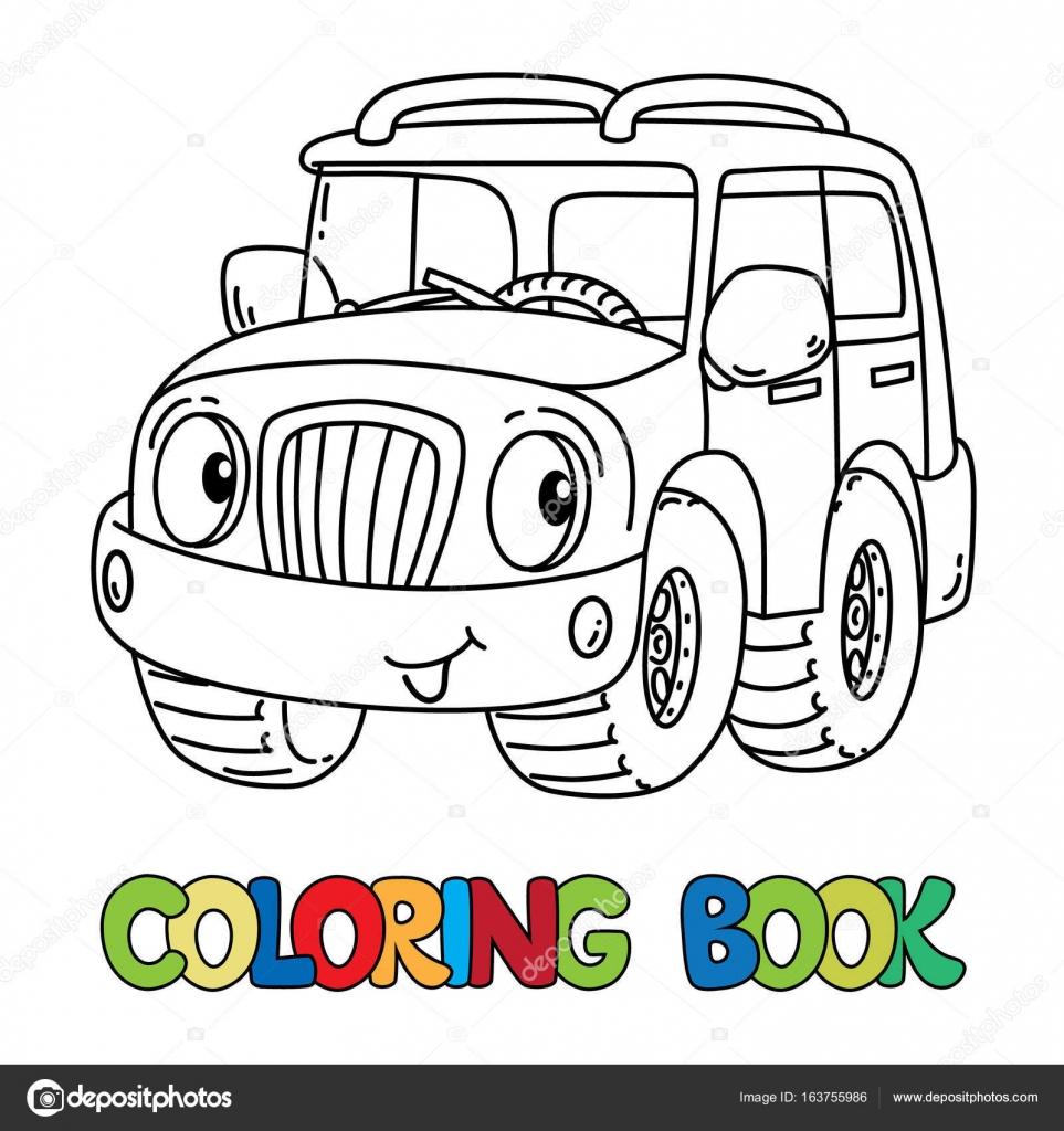 Vettore Occhi Simpatici Da Colorare Jeep Divertente O