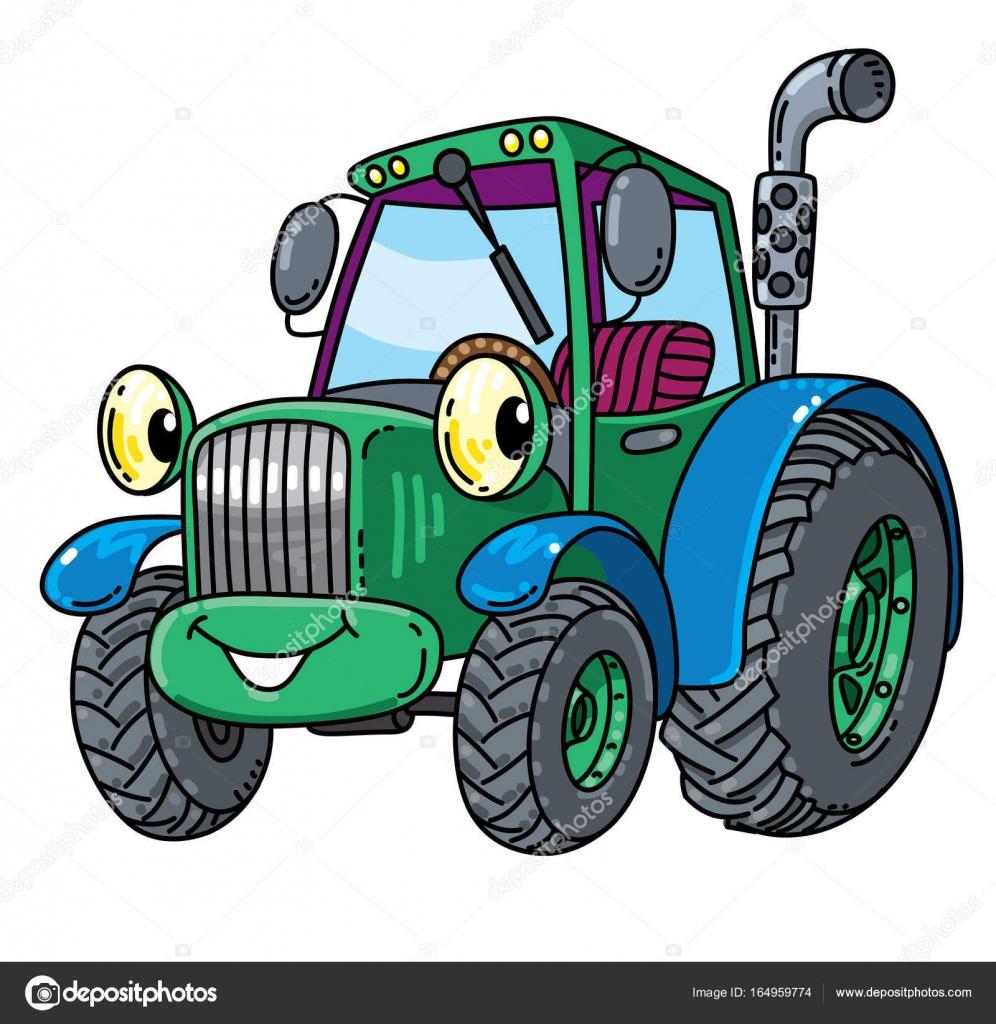 Small Tractor Cartoon : Divertente piccolo trattore con gli occhi — vettoriali