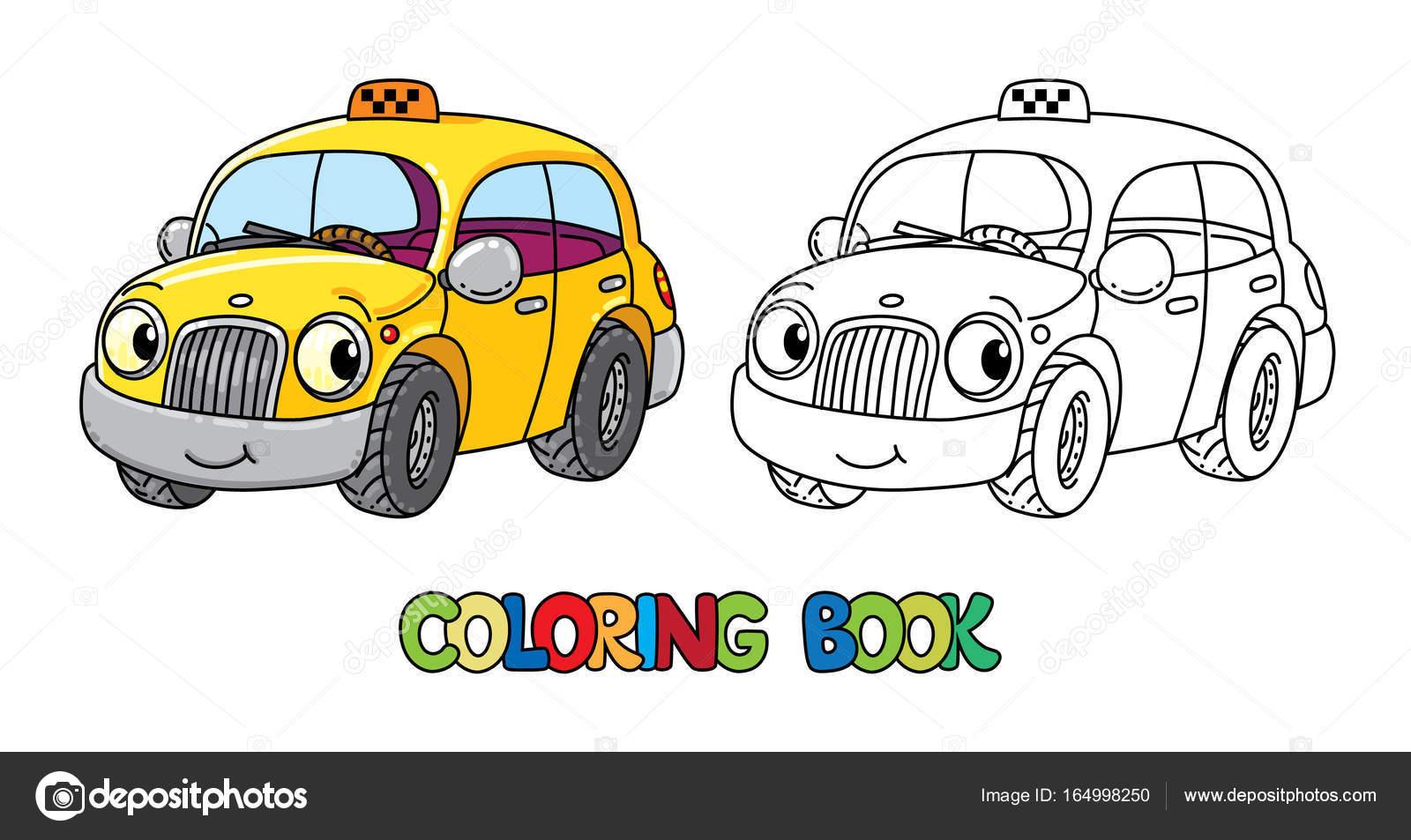 Coche divertido taxi pequeño con los ojos. Libro para colorear ...