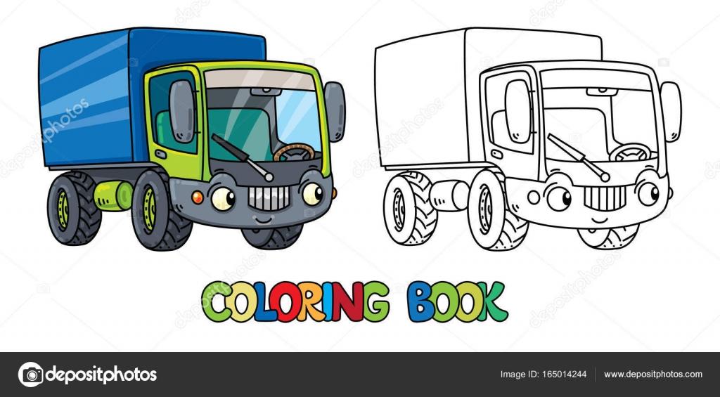 Lustige kleine LKW mit Augen. Malbuch — Stockvektor © passengerz ...