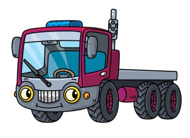 Funny small truck with eyes.