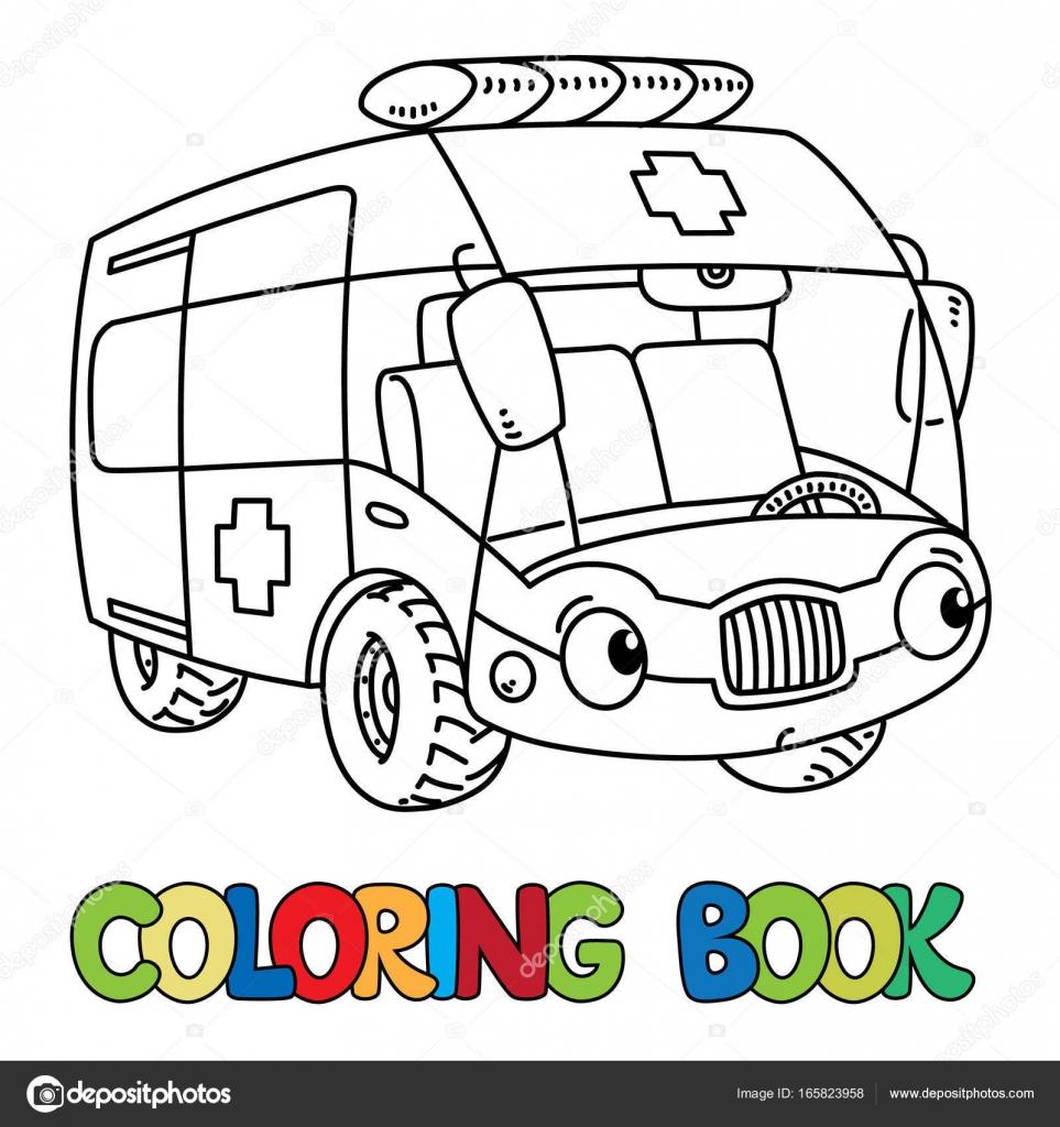 Coche divertido ambulancia pequeña con los ojos. Libro para colorear ...
