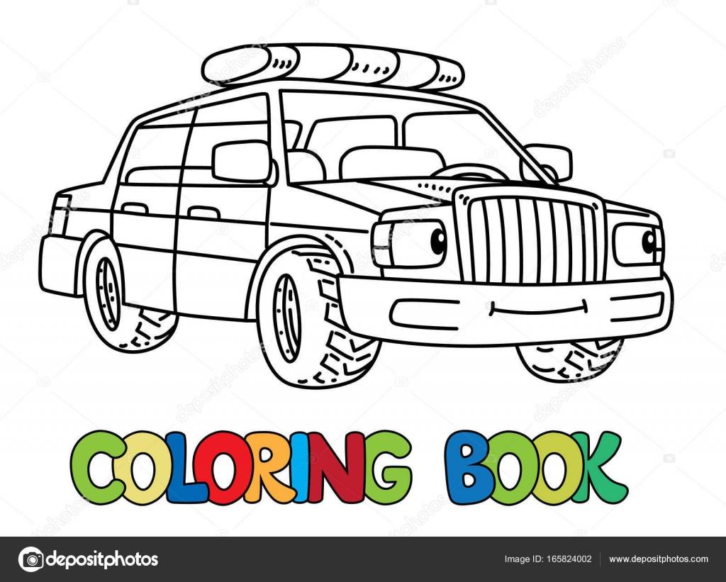 Auto Polizia Piccolo Divertente Con Gli Occhi Libro Da Colorare