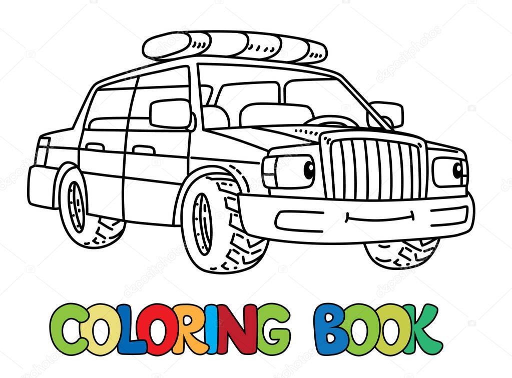 grappige kleine politie auto met ogen kleurboek