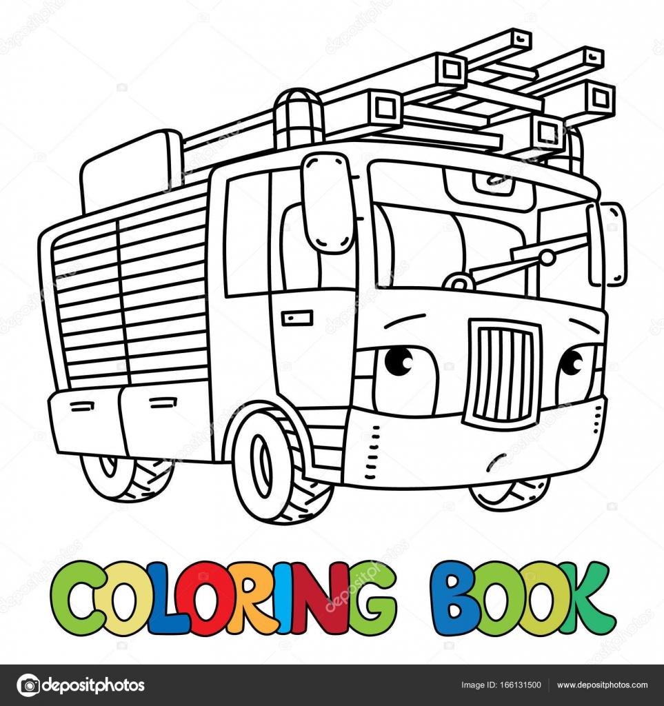 Itfaiye Arabası Veya Firemachine Ile Boyama Kitabı Gözleri Stok