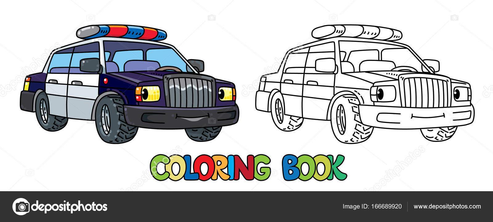 Komik Küçük Polis Arabası Gözleri Olan Boyama Kitabı Stok Vektör