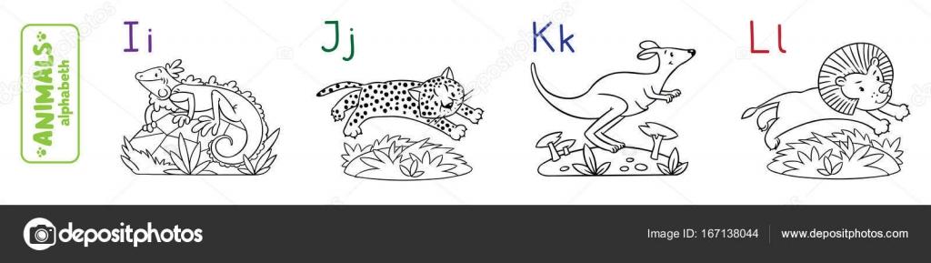 Alfabeto de animales o Abc. Libro para colorear — Vector de stock ...