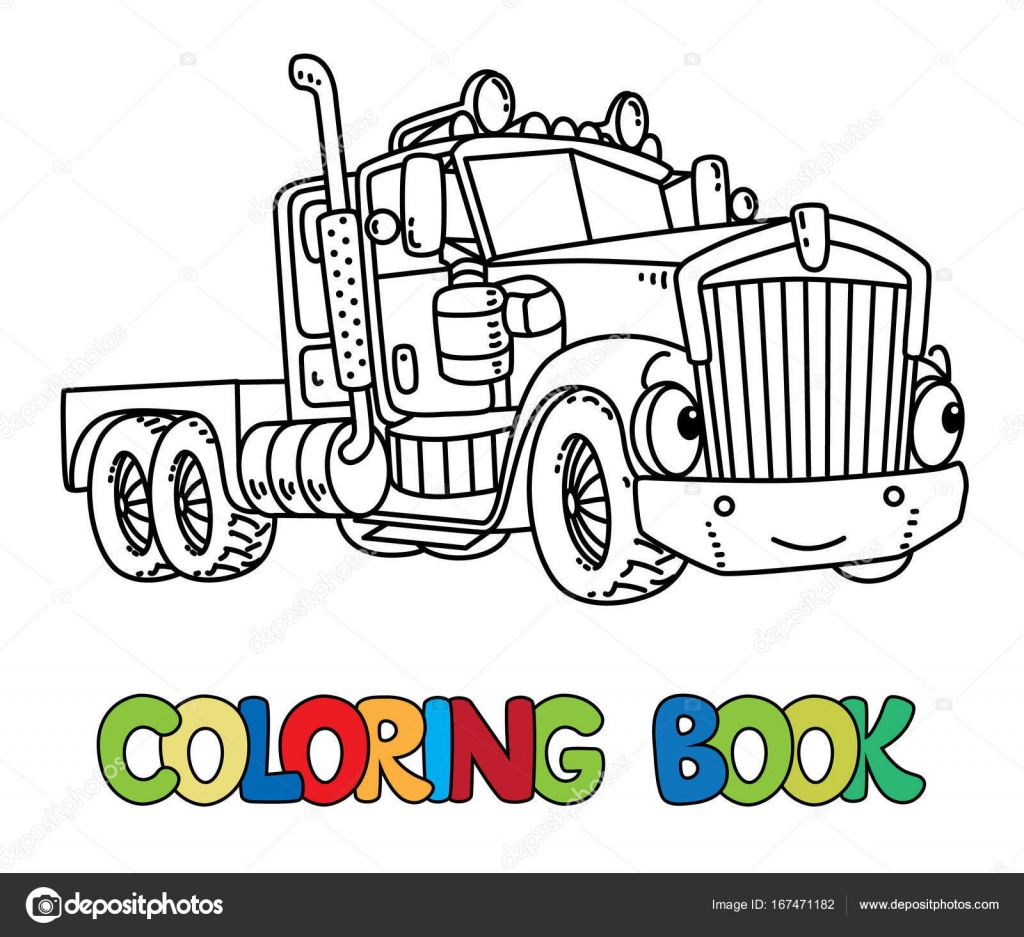 heavy truck coloring book for kids funny vector cute car with eyes and mouth children vector illustration vector by passengerz - Coloring Book Truck