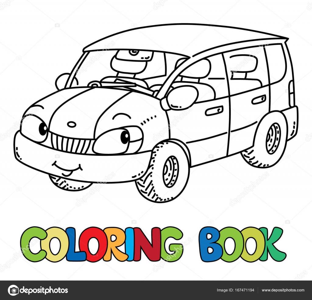 carro pequeno engraçado com os olhos livro de colorir vetor de