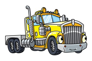 Funny heavy truck with eyes