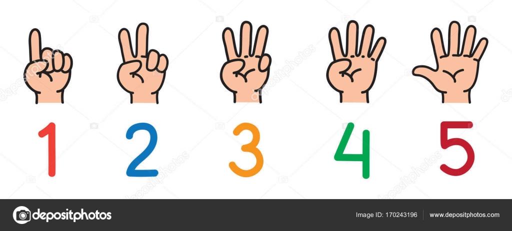 Manos Con Los Dedos. Icono Para Contar Educación